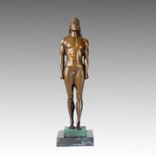 Nackte Statue Männliche Kouros Bronze Skulptur TPE-368