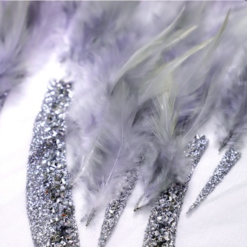 Kain Renda Buatan Tangan Tulip Feather Glitter Lace
