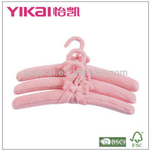 Fuzz fabric padded clothes hangers with ribbon bow