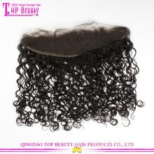 Новых продуктов натуральные волосы Малайзии до ушей кружева лобной волос штук кудрявый фигурные кружева лобной