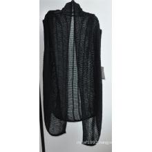 Ladies Long Sleeveless Opean Patterned Knit Cardigan