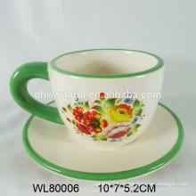 Superior flor y pájaros calcomanía taza de café espresso y platillo