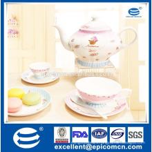 2016 Elegant Tea and Coffee Set New Bone China Tea for One Set with Cake Design