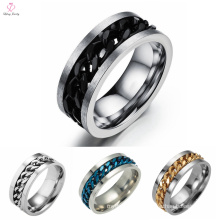 Fashion Boys Finger Stainless Steel Rings, Black River Rotatable Chain Steel Ring