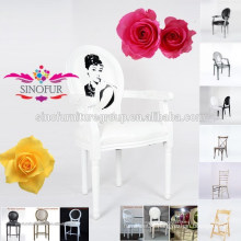 solid wood frame and legs white louis chair