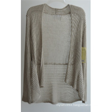Long Sleeve Opean Patterned Knit Cardigan for Ladies