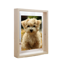 wholesale custom High quality Float Wood Picture Frames walunt Artwork Display Double Glass picture frames