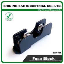 FB-6011 Para el carril del fusible de cristal de 6x30m m montado 600V 1 poste 15A Bloque del fusible