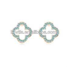 Alibaba express jewelry 18k gold plated austria crystal four leaf clover earrings