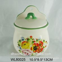Recipiente de condimento de cerâmica com decalque de flor