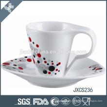 100CC porcelana xícara de café e pires, caneca de porcelana branca, conjunto de copo design sliver