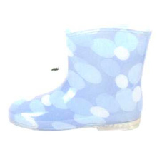 Baby's Light Blue Dotted Lining Pvc Rain Boots
