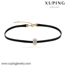 44048 En Gros populaire dames bijoux zircon pavé pendentif en cuir collier ras du cou