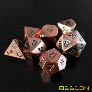 Bescon Heavy Duty Old Bronze Solid Metal Dice Set, Ancient Metallic Polyhedral D&D RPG Game Dice 7pcs Set