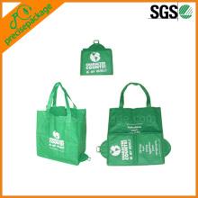 Bolso reutilizable plegable al por mayor de Pocketable con broche