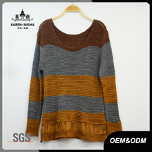Women Striped Color Knitted Sweater