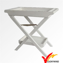Shabby Chic White Wooden Folding Tray Table for Kitchen