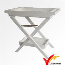 Потертый Chic Белый деревянный раскладной столик для кухни