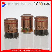 Набор 3PC металлических золотых оконных стеклянных канистр