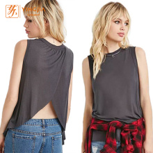 Women's Sleeveless Round Neck Pure Color Casual Shirts