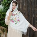 Women Retro Handkerchief Embroidery Winter Pashmina Scarf