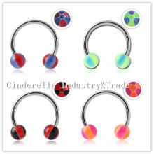 Surgical Steel Micro-circular Barbell UV Beach Balls