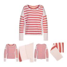 Suéter de cachemira hecho punto de las mujeres rojas de las rayas