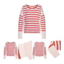 Red Stripes Women Knitted Cashmere Sweater