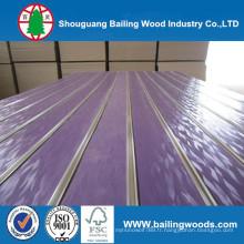 MDF de fente / plaine / placage en bois / PVC / HPL / UV / mélamine MDF laminé