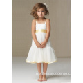 A-line Tali Lebar Satin Organza Flower Girl Dress selutut