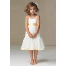 A-line Wide Straps Knee-length Satin Organza Flower Girl Dress
