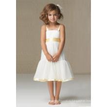 А-силуэт с широкими бретелями до колен Атласное платье из органзы для девочек-цветочниц