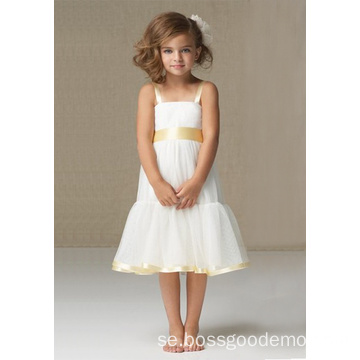 A-linjen Bred remmar Knälängd Satin Organza Flower Girl Dress