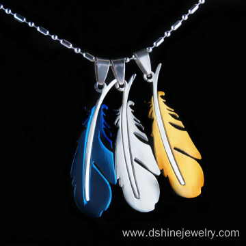 Feather Pendant Stainless Steel Mens Chain Necklace