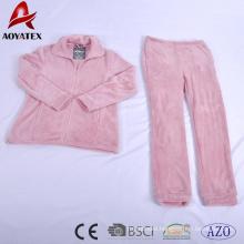 ultrasonic embossed flannel fleece adult zip pajamas