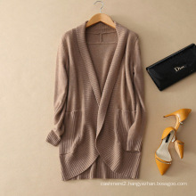 Deep V neck coat open top fly no buttons 100% pure cashmere women knitting cardigan coats with double pockets