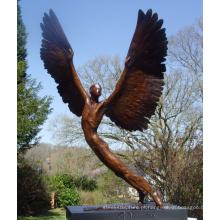 suprimentos de arte decoração para casa ofício do metal bronze estátua de anjo alado
