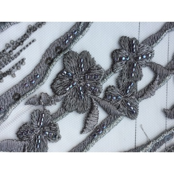 Embroidered Corded Sequined Mesh Wedding Decoration