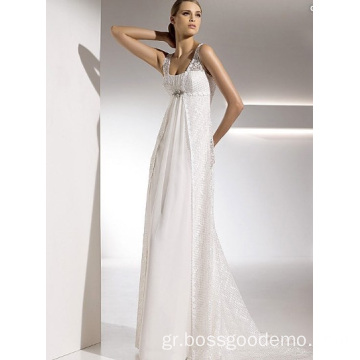 Empire Sheath Column Straps Chapel Train Chiffon Lace Drapped Wedding Dress
