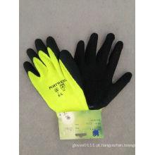 Luva revestida do trabalho do produto químico do látex da cor de advertência fluorescente 10g