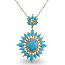 Luxury Blue AAA CZ Stone Design Fashion Charm Jewelry Necklace