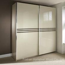Maravilloso armario de deslizamiento de alto brillo de color marfil (HF-EY0829)