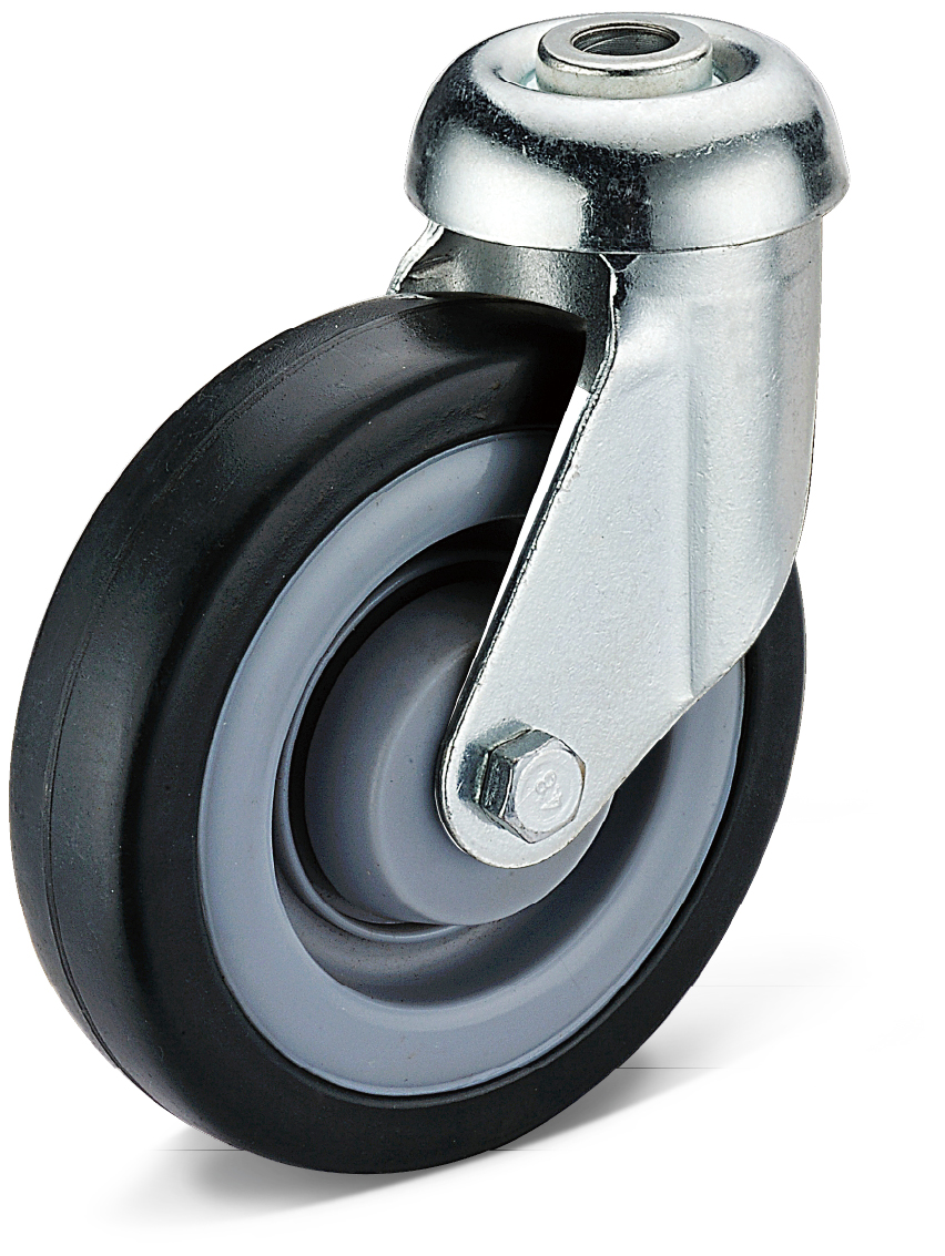 Black Rubber Bolt Hole Movable Casters