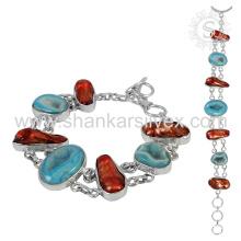 Pulsera de piedras preciosas impresionante 925 joyería de plata esterlina joyería hecha a mano India