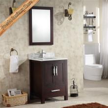 Деревянный шкаф для ванной комнаты с тканью с одной раковиной