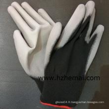 Gants en caoutchouc noir enroulé en nylon Gant de travail de sécurité Revêtement en PU