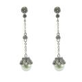 Boucles d'oreilles en argent pur avec perles