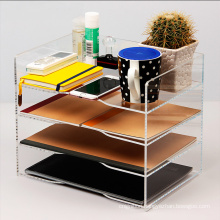High Quality Factory Wholesales Clear 4 Tier Caddy Office Supplies Stationery Storage Acrylic Desk File Organizer