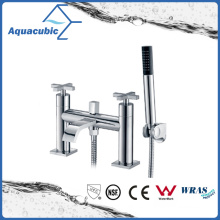 Double Holes Dual Handle Bathtub Tap with Hand Shower (AF1512-2B)
