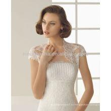 Привлекательный без бретелек аппликация бусы 2014-line свадебное платье платья с высокая шея с коротким рукавом кружева Болеро NB005